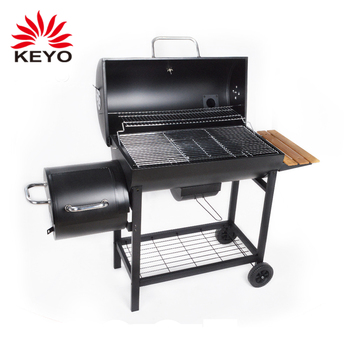 russian garden outdoor large trolley wood pellet double barrel heavy duty coal charcoal bbq barbecue smoker grill