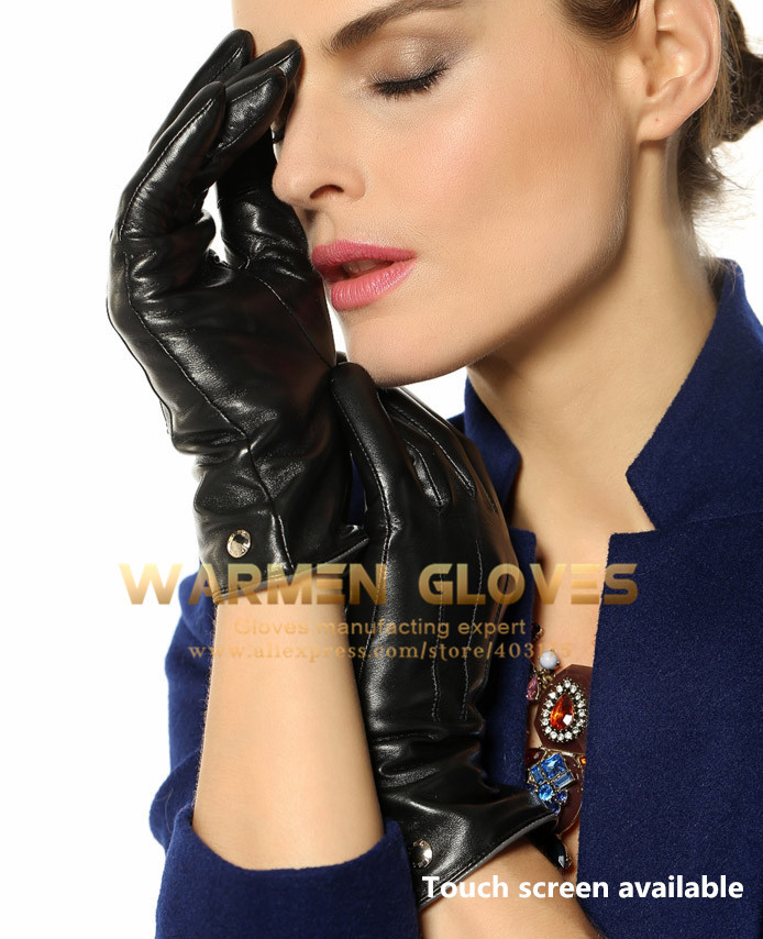 Ladies cashmere Lining Touchscreen Function Winter Warm 100% Lambskin Leather Gloves