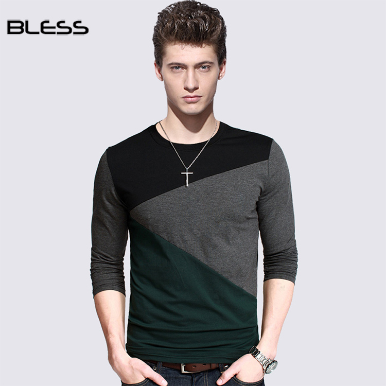 2018 Autumn Custom Cotton T-shirt Long Sleeve T Shirt Color Blocking For Men