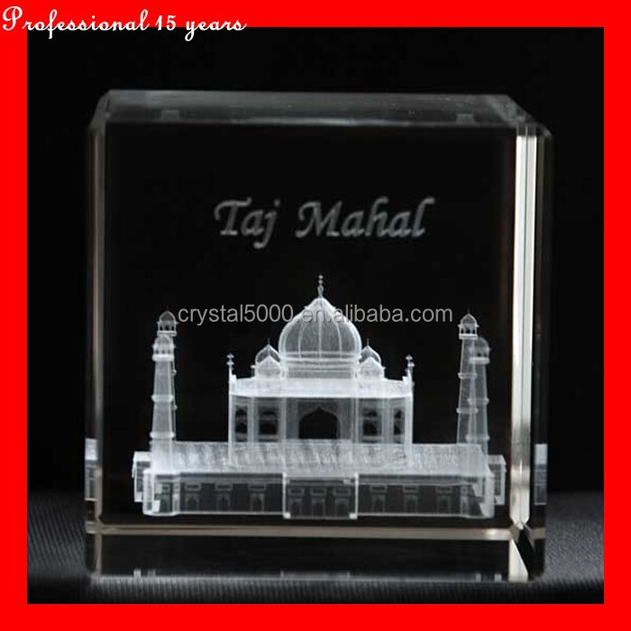 3D laser Taj mahal in crystal for christmas gift