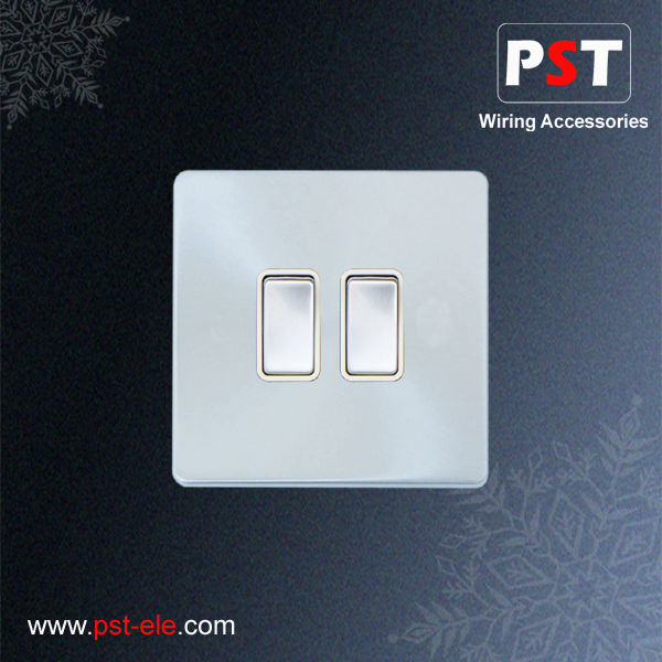 BS 10A 2 Gang Chrome Light Switch