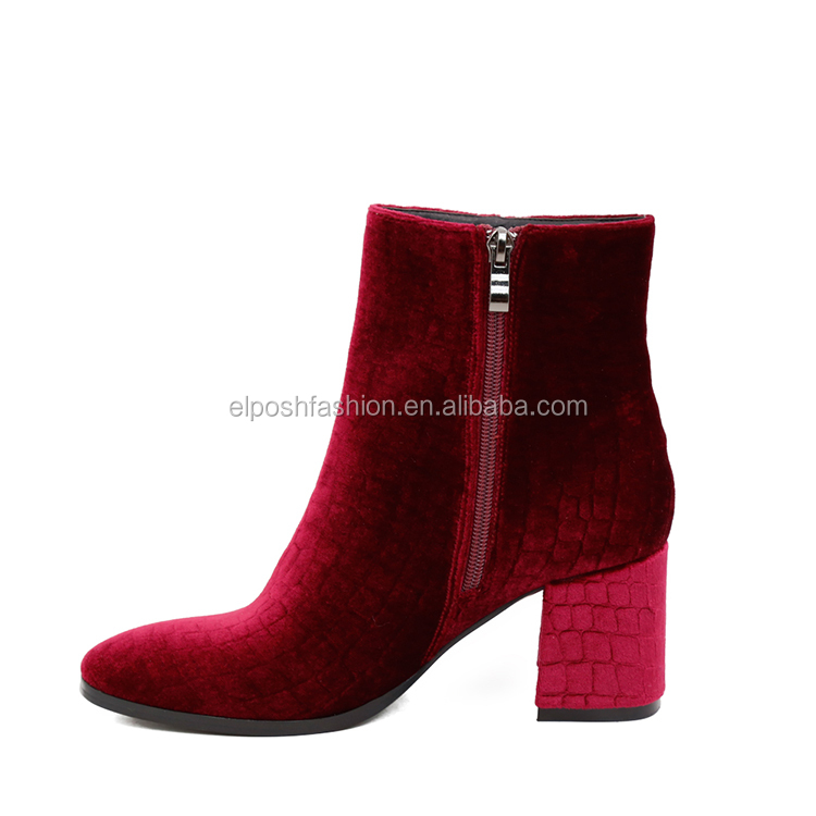 Personality Fashion Style Velvet Boots Thick Middle High Heel Shoes
