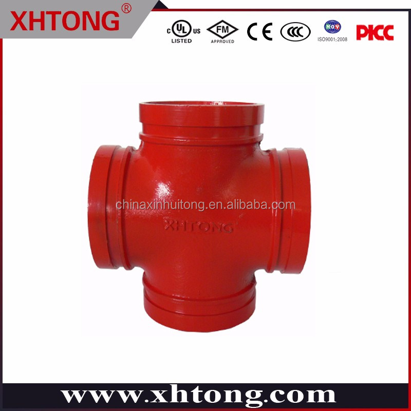 galvanized grooved pipe tee /pipe fitting and coupling ductile iron grooved cross