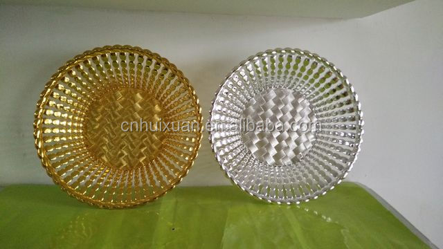 "10"" Round silver coated plastic plate"
