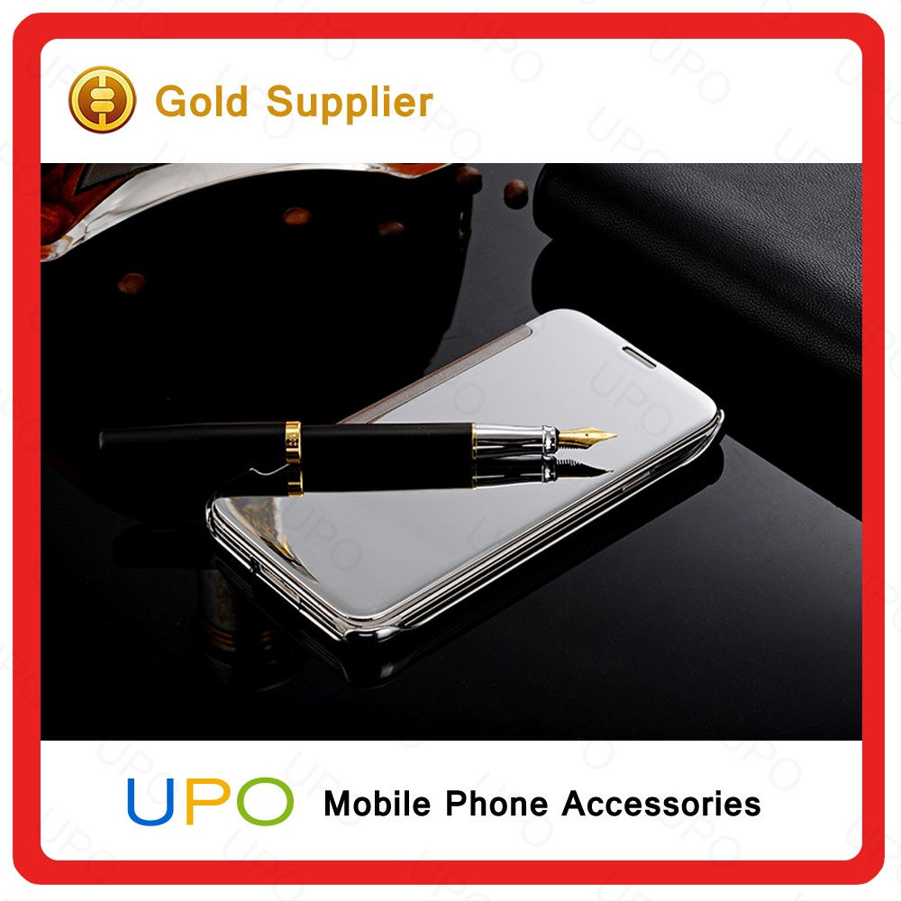 [UPO] Hot Selling Mirror Clear View Slim Flip Leather Case Cover For Samsung S5,Mirror case for S5