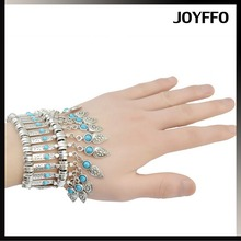 Fashion Bohemia ancient silver plated turquoise pretty geometry cuff alloy tassel bracelet