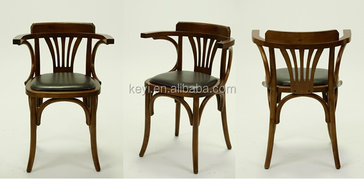 Antique wooden Arm dining chair/ Restaurant chair with Leather seat(ZD-136)