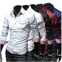 Wholesale mens shirts tailored slim fit Men's long sleeve shirt