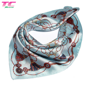 Euramerican Popular Printed Smooth Square Silk Scarf Ladies Satin Scarf
