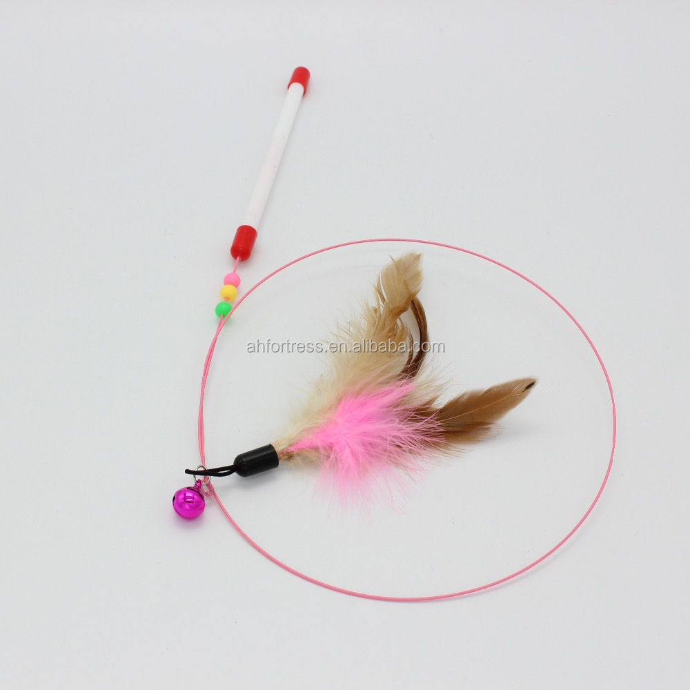 Pet Toy Interactive Rod Cat Catcher Teaser Feather Wand