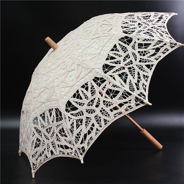 hand craft made lace fabric white wedding parasol umbrella