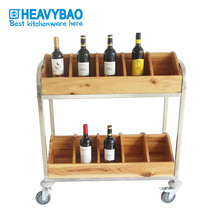 Heavybao Stainless Steel Wood Wine Bucket Bar Service Trolley Cart