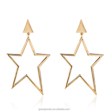 Quietly Elegant And Charming Star Shape Alloy Hanging Earrings For Cocktail Party