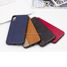 The grain spliced with crazy horse stripes leather phone case for iPhone X