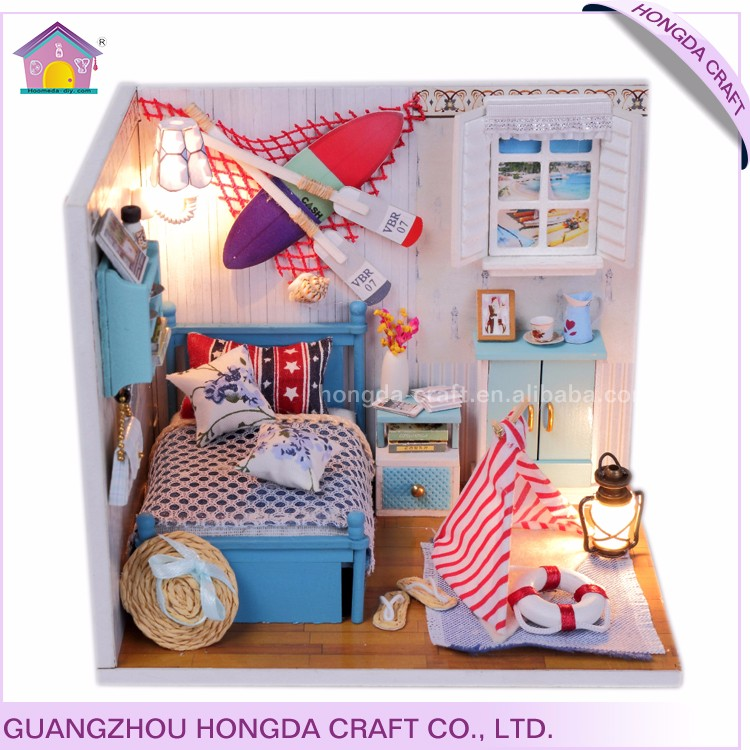 New arrival puzzle wood dollhouse miniatures diy kit kids toys wholesale guangzhou