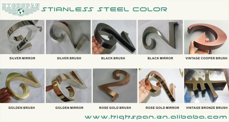 Highspan custom 3d small stainless steel letters house numbers