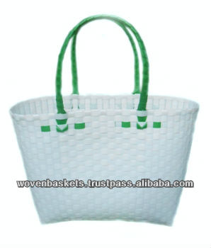 Cheap Woven Baskets Shopping weaving Bag(ATM-F9) with White or Colorful made from Plastic Straps Polypropylene pp