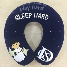 round shape inflatable electric heated neck pillow with full surface printed for promotion gifts