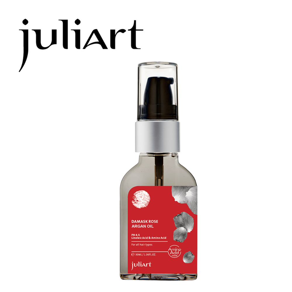 Free sample JuliArt damask rose essential argan oil for damaged and frizz hair 30ml