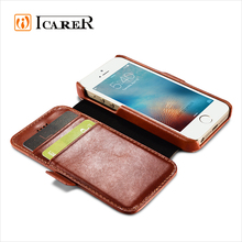 ICARER Genuine Leather Wallet Case for Apple iPhone SE, Mobile Phone Protective Flip Cover for iPhone 5/5s