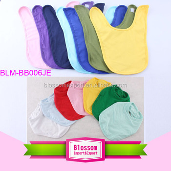 Wholesale baby bandana drool bibs solid color baby bibs 100% cotton bibs