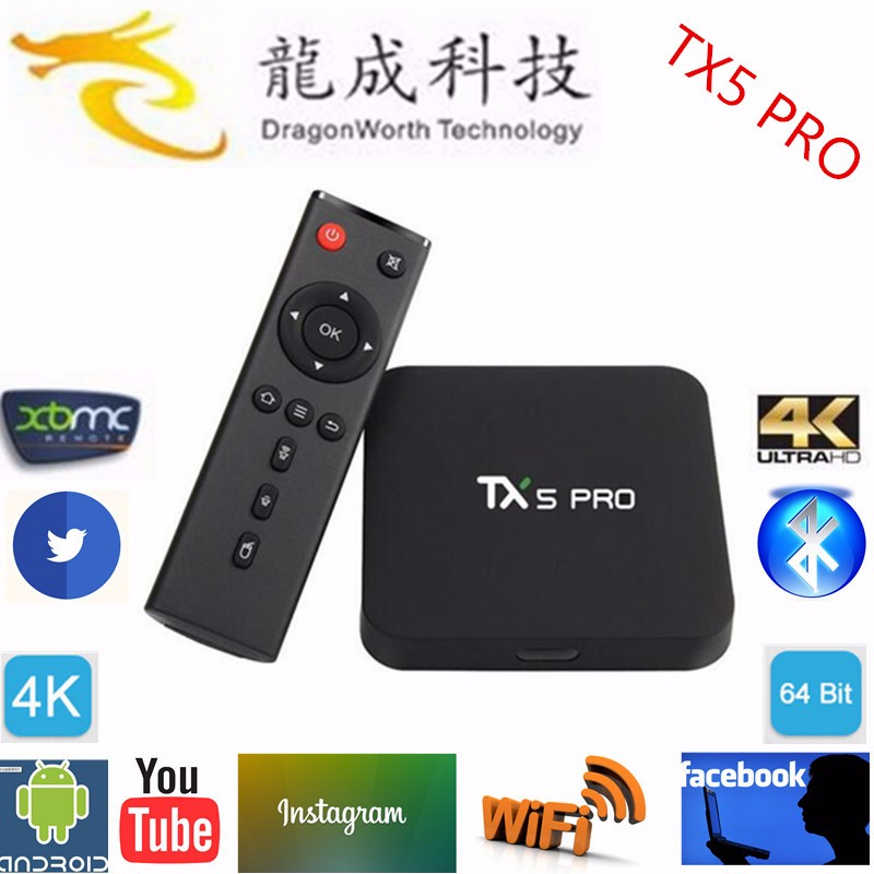 TX5 PRO Android TV BOX S905X 2GB 16GB Android 6.0 Quad Core KODI 16.1 media Player 2.4G/5G WIFI Smart arabic box iptv