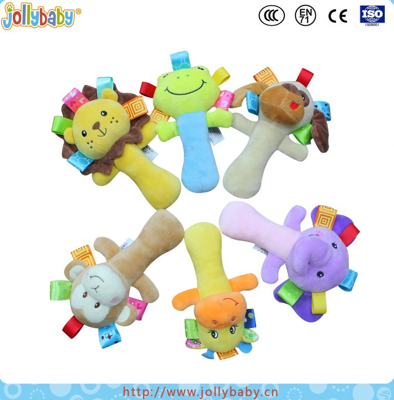 Newest Innovate Design Animals Character Baby Plush Hand Bell With BiBi Sound
