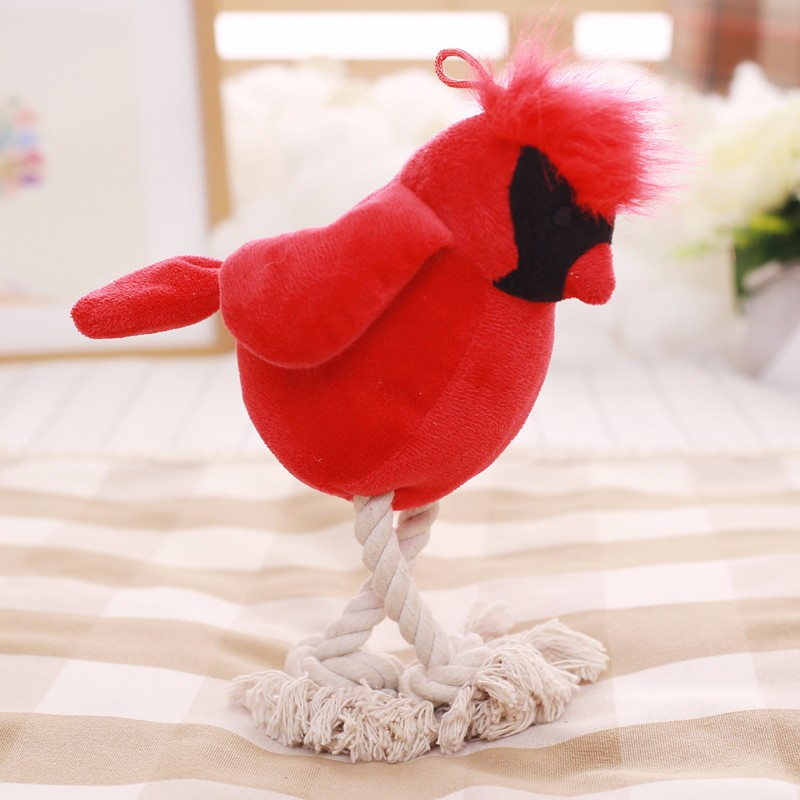 Customized Pet Puppy Dog Chew Play Toy Squeaky Plush Animal Bird Shaped Sound Dog Cat Toy