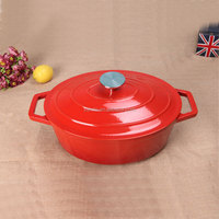 Oval iron cast stock pot soup tureen prima cookware