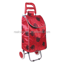 RW6005F China Shopping Bag Factory Supply Red Rose Words Pattern Vegetable Shopping Trolley Bag With 2 Wheels