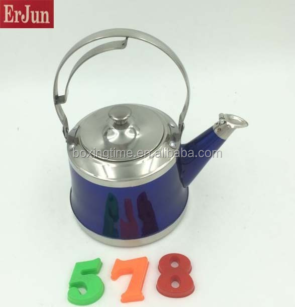 New design Blue stainless steel kettle induction tea pot tea kettle whistling