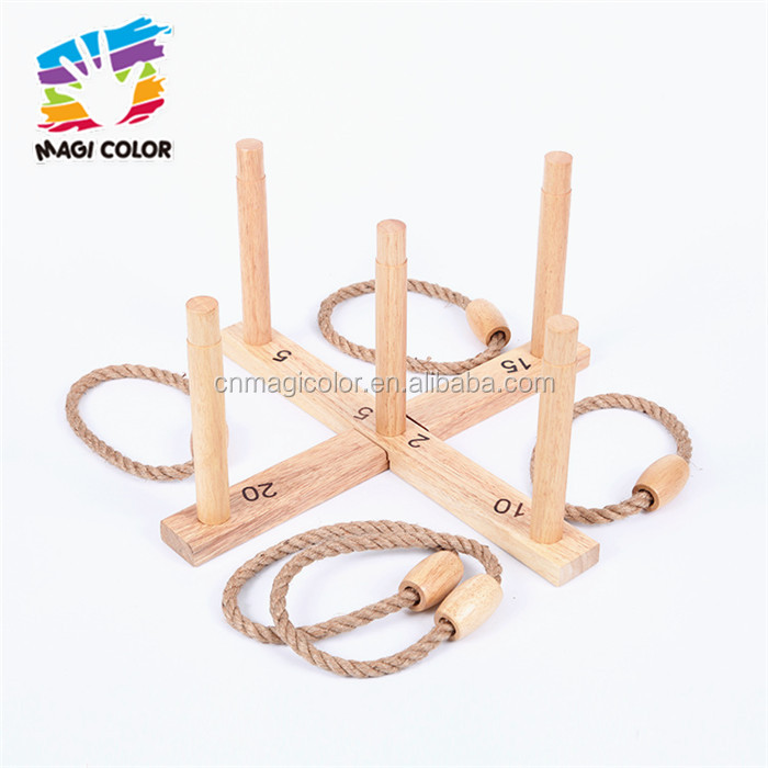 2016 wholesale wooden ring toss game toy, funny kids wooden ring toss game toy, outdoor wooden ring toss game toy W01A182