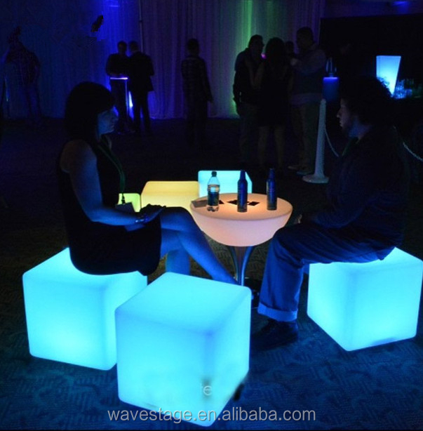 Factory wholesale color changing led glowing cube seat