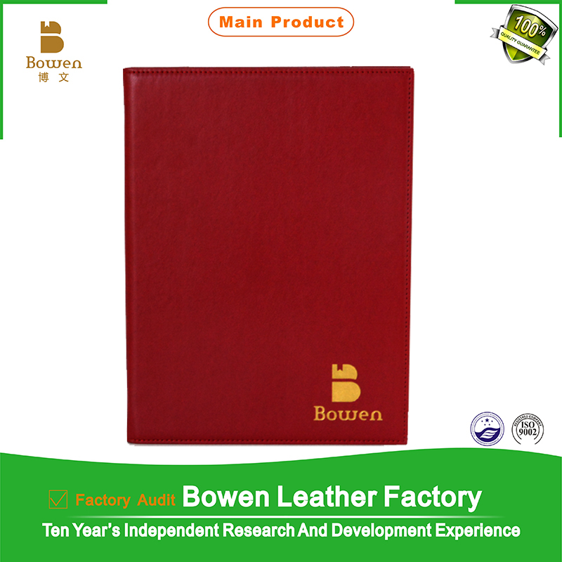 Alibaba top supplier hot sale custom size China red leather folder restaurant menu cover