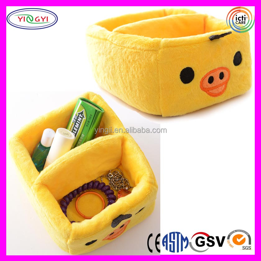 A383 Mini Soft Yellow Chick Desktop Case Plush Stuffed Small Parts Desktop Case
