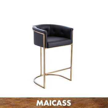 Stainless steel gold PU restaurant barstool