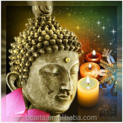 Famous handmade painting decor beautiful color oil painting light up buddha canvas painting
