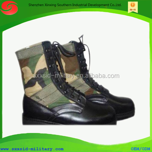 ISO certificated rubber outsole canvas military army women camouflage boots