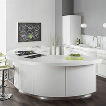 2018 Modern white high gloss round kitchen design