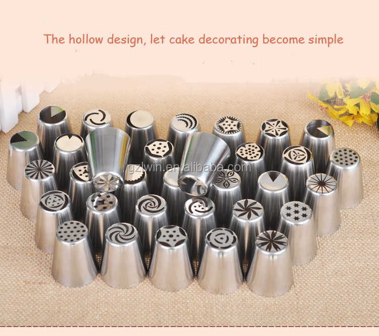 24 items Russian Stainless Steel Pastry Icing Nozzles Decorating Cakes Tips