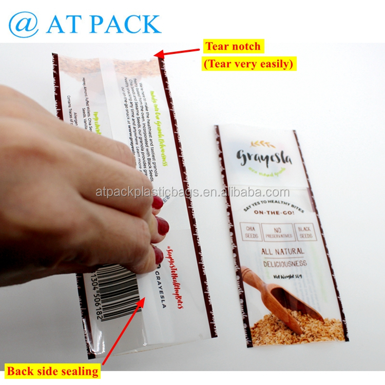 Custom printed food grade granola bar wrapper with clear widow