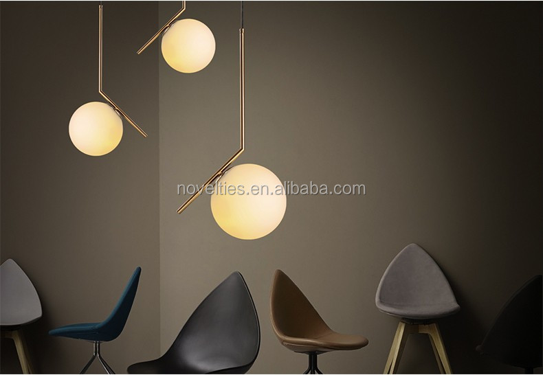 2016 New Collection Nordic Milk White Glass Ball Pendant Light Gold Metal
