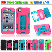 Robot bracket combo phone cover & Hit color color cell phone case for iphone4 or 4S
