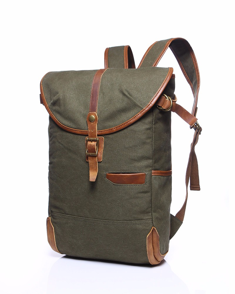 Wholesale customized logo vintage backpack canvas men with real leather trim for made in China