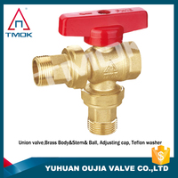 Certified red handles copper ball valve on YU HUAN OU JIA
