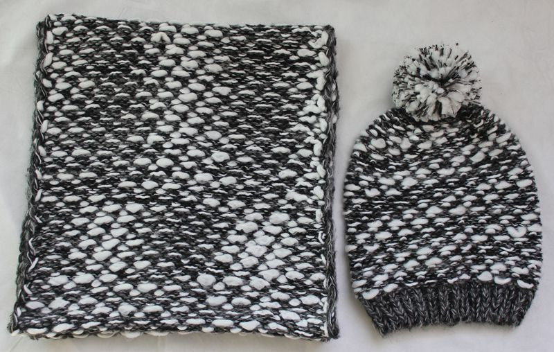 Women Winter Warm black and white ball top Knitted hat and scarf