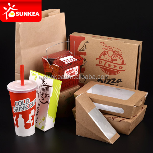 Restaurant take out pizza boxes, salad containers, food containers
