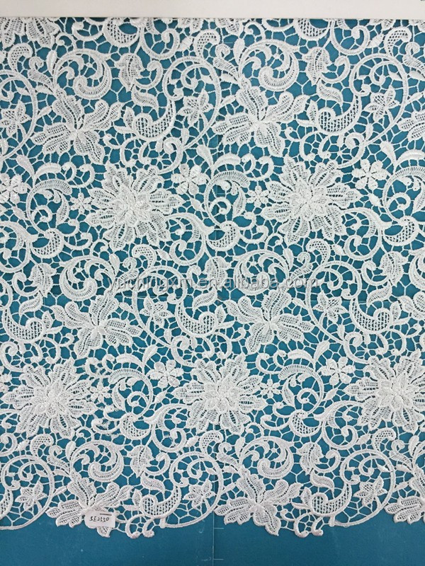 Hot sale water soluble embroidery guipure lace fabric applique dissolvable lace fabric