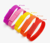 New Custom Pendrive Colorful Silicone USB Memory Disk Wrist Band Bracelet USB Flash Drive