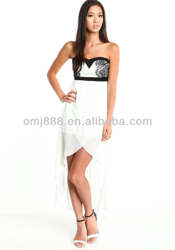Elegant White Hi Low Wrapped Cocktail Dress with Contrasted Colored Bodice
